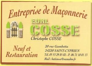 COSSE  EURL - Maçonnerie